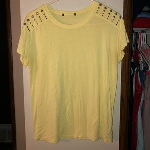 Forever 21 Size Large Studded Yellow Tee